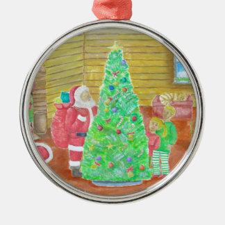 auf Weihnachtsabend Rundes Silberfarbenes Ornament