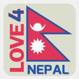 Aufenthalt-starker Nepal-Aufkleber Quadratischer Aufkleber