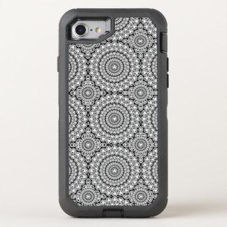 Auffälliges weißes funkelndes Diamant-Kreis-Muster OtterBox Defender iPhone 8/7 Hülle