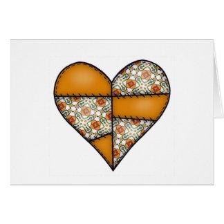Aufgefülltes gestepptes genähtes Herz Orange-06 Karte