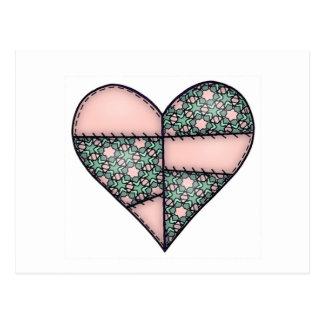 Aufgefülltes gestepptes genähtes Herz Peach-04 Postkarte
