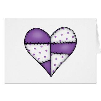 Aufgefülltes gestepptes genähtes Herz Purple-03 Karte