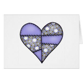 Aufgefülltes gestepptes genähtes Herz Purple-05 Karte