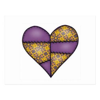 Aufgefülltes gestepptes genähtes Herz Purple-06 Postkarte