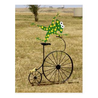 Aufgeregter Frosch auf einem Fahrrad Postkarte