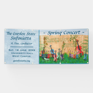 Aufgereihte Instrument-Garten-Konzert-Mitteilung Banner