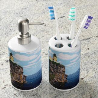 Aufgeteilter Felsen-Leuchtturm Seifenspender & Zahnbürstenhalter