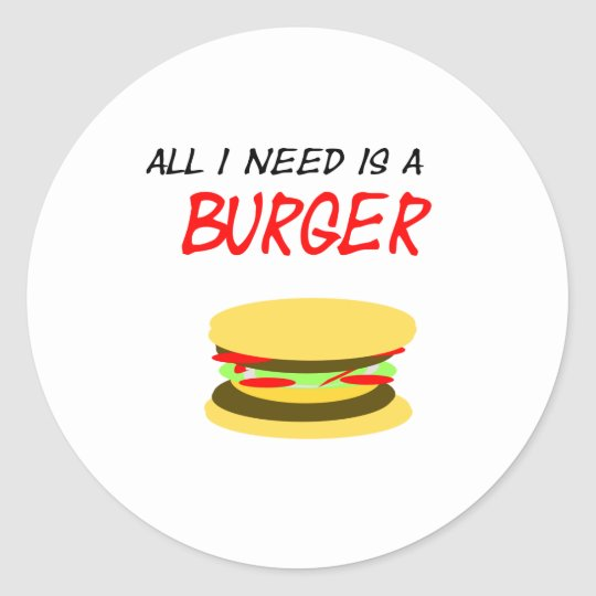 Aufkleber All I need is a Burger