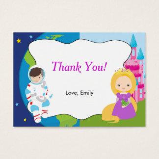 Aufkleber Astronauten-Prinzessin-Kids Thank You Visitenkarte