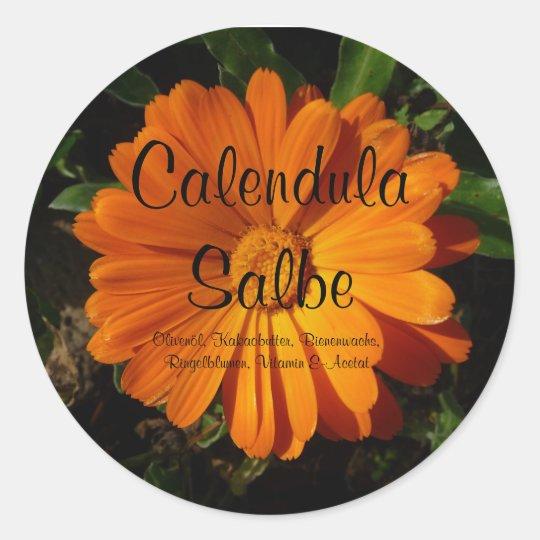 Aufkleber, Calendula  / Ringelblumen Salbe Runder Aufkleber