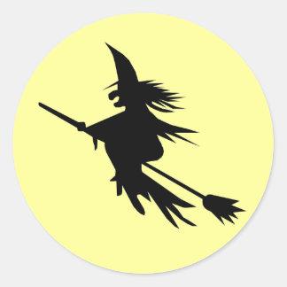 Aufkleber der Hexe-Fliegen-Silhouette-| Halloween