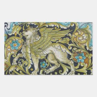 Aufkleber--Deruta Fliesen-Löwe Rechteckiger Aufkleber