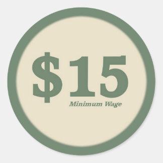Aufkleber des Mindestlohn-$15 - dunkle Zahl