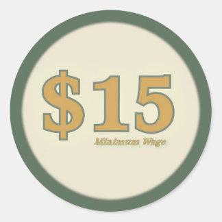 Aufkleber des Mindestlohn-$15 - Goldzahl