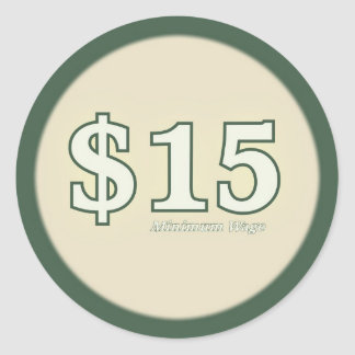 Aufkleber des Mindestlohn-$15 - helle Zahl