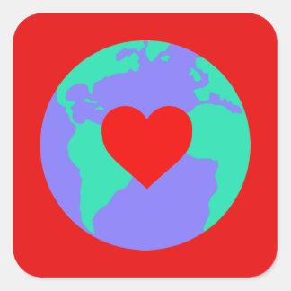 Aufkleber - Erde mit einem Herzen