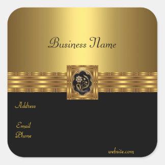 Aufkleber-Gold auf Goldschwarzem Quadrat Quadrat-Aufkleber