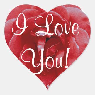 """Aufkleber - Herz - rote Rote Rose """"ich Liebe Sie """""""