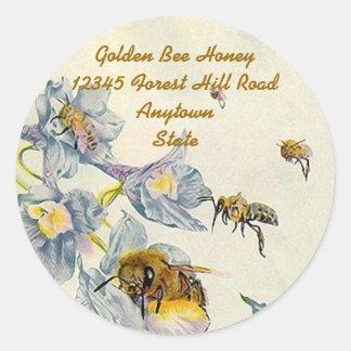 Aufkleber-Honig-Bienen-Winden-Blumen-Imker Runder Aufkleber