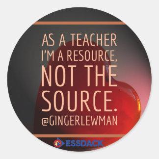 Aufkleber: Ich bin eine Ressource, nicht DIE Runder Aufkleber