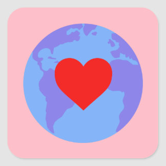 Aufkleber - Kugel mit Herzen, rosa Hintergrund