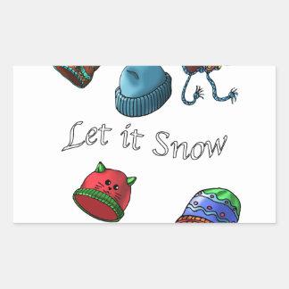 Aufkleber, ließen es schneien rechteckiger aufkleber