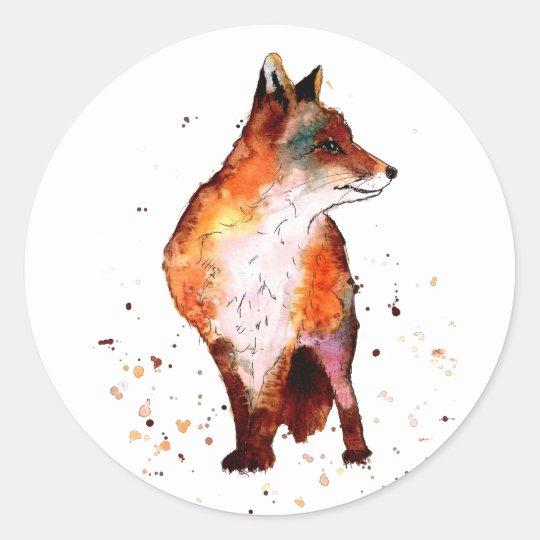 Aufkleber mit buntem handgemaltem Fuchs