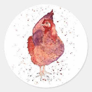 Aufkleber mit handgemaltem Huhn