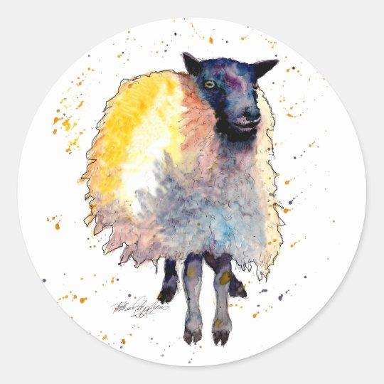 Aufkleber mit handgemaltem Schaf