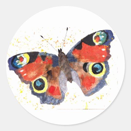 Aufkleber mit handgemaltem Schmetterling