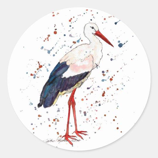 Aufkleber mit handgemaltem Storch