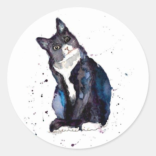 Aufkleber mit handgemalter Katze