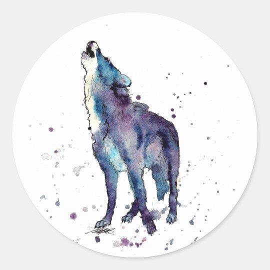 Aufkleber mit heulendem Wolf