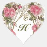 Aufkleber-personalisiertes antikes Rosen-Herz-Mono