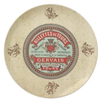 Aufkleber-Platte Vintage Rillettes De Tours French Teller