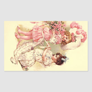 Aufkleber-reizende Vintage viktorianische Rechteckiger Aufkleber