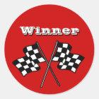 Aufkleber-Rennen lockert Sieger-Checkered Runder Aufkleber