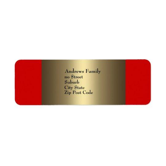 Aufkleber-rotes u. Bronzeeinfaches Rücksendeetiketten