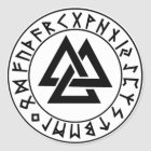 Aufkleber rundes Tri Dreieck Rune-Schild