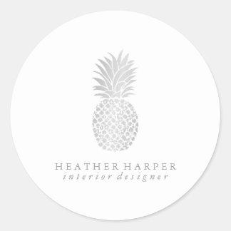 Aufkleber - silberne Ananas