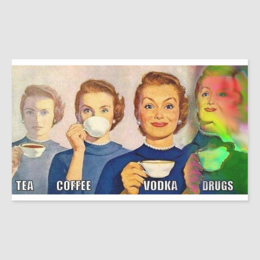 Aufkleber, Tee, coffe, Wodka, Drogen