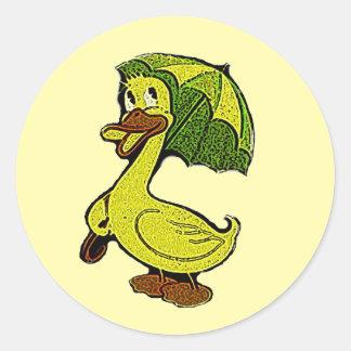 Aufkleber-Vintage Baby-Enten-Duschen-Ducky Runder Aufkleber
