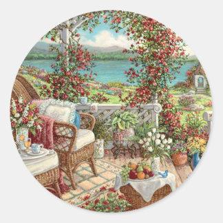 Aufkleber vintage mit viel Blumen, Landschaft,
