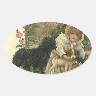 Aufkleber-Vintage viktorianische Ovaler Aufkleber