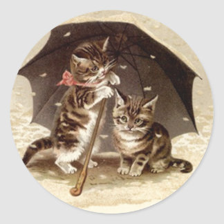 Aufkleber-Vintages Katzenspiel unter Runder Aufkleber