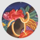 AufkleberVintage hawaiische Ukulele Tiki Runder Aufkleber