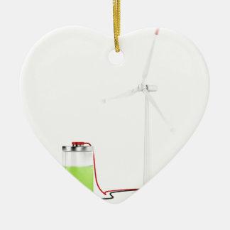 Aufladenbatterie mit Windkraftanlage Keramik Herz-Ornament