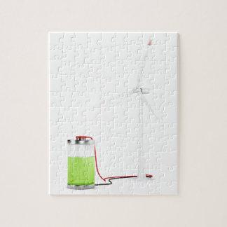 Aufladenbatterie mit Windkraftanlage Puzzle