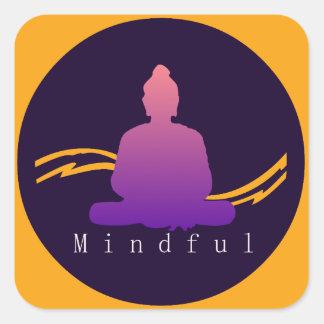 """""""Aufmerksamer"""" schöner Buddha Quadratischer Aufkleber"""