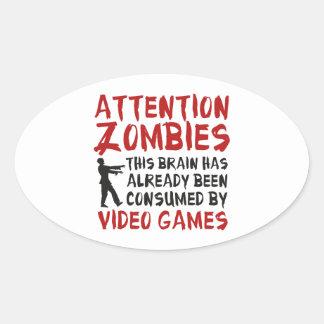 Aufmerksamkeits-Zombie-Videospiele Ovaler Aufkleber